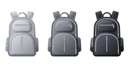 Sport backpack mockup. Realistic black, gray and white backpacks, bags for travel, sport or school cloth and shoes, 3D vector template. Rucksack with zip and pockets isolated illustration
