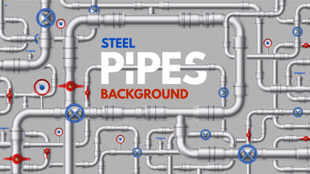 Metal pipelines. Industrial and home construction pipeline, connector fitting, flange and taps. Gas, water line or sewer vector background. Conduits for water supply, plumbing system