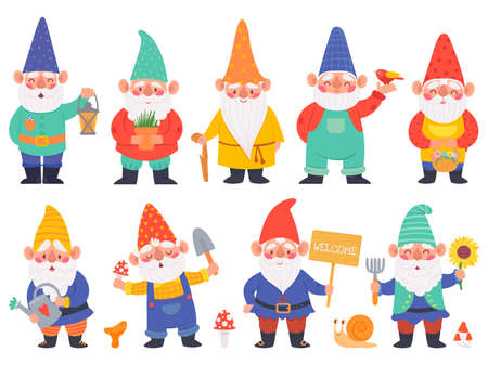 Gnome characters. Cute gnomes with beard funny garden decoration, adorable dwarfs with lantern, watering can and flowers cartoon vector set. Character with shovel with mushrooms, pot with plant Vettoriali