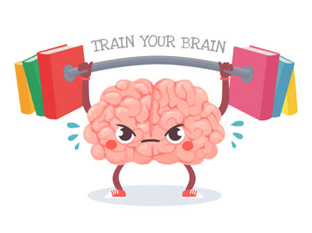 Brain training. Cartoon brain lifts weight with books. Train your memory, studying, learning and knowledge education vector concept. Character sweating with barbell, workout for mind Vector Illustration
