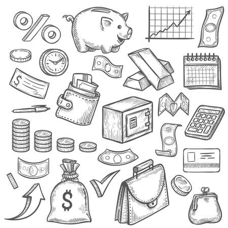 Money and banking sketch. Hand drawn dollar banknote and coin, piggy bank and business chart. Wallet, gold bar finance investment vector set, financial objects as credit card, briefcase