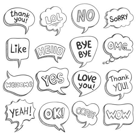 Speech bubbles with dialog words. Sketch bubble different shapes with message, short phrases thank you, bye, ok, omg, wow, lol vector set. Comic balloons for thought, idea, comment