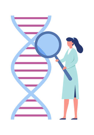 DNA genetic engineering. Laboratory research biotechnology concept. Woman medical or laboratory worker holding magnifier glass and checking dna wireframe structure vector illustration Vektorové ilustrace