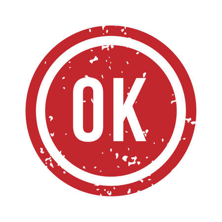 OK rubber stamp. Isolated vector. Illustration stamp ok sign, symbol rubber label grunge. Approved and allowed mark red,
