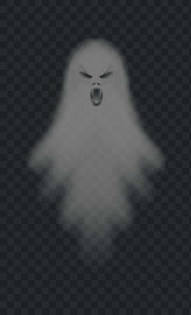 Realistic spooky ghost. Isolated vector. Halloween ghost scary, horror shadow poltergeist, illustration spooky evil Ilustrace