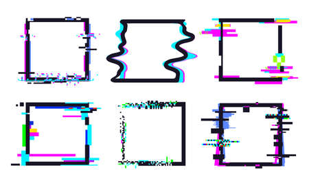 Glitch square frame. Square template shape colorful, dynamic glow pixel defect illustration vector. Distorted effect collection