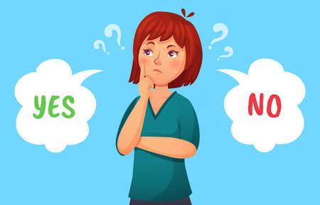 Woman making decision. Illustration female thoughtful, girl pondering, making decision problem, yes or no vector