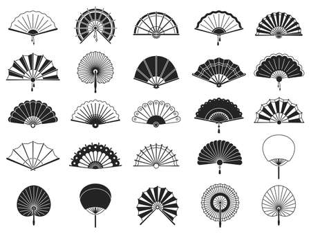 Handheld fan. Black silhouettes of chinese, japanese paper folding hand fans, traditional asian decoration and souvenir vector isolated set. Chinese fan black silhouette illustration, asian souvenir