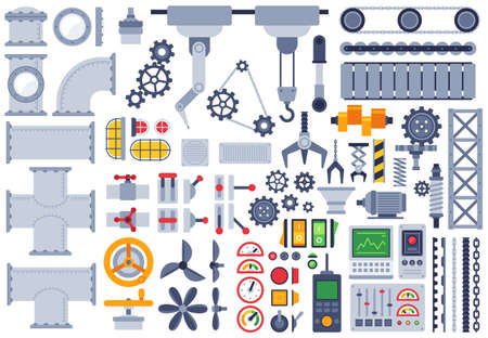 Flat machinery. Auto construction different mechanism, technical gears, pinion, shaft, joints, factory equipment machine parts vector set. Illustration machinery industry, equipment and engineering