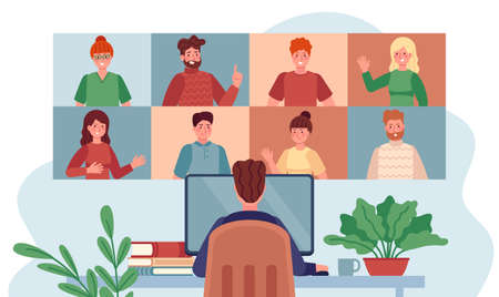 Virtual meeting. Man chatting with group people, online meetings remote working during coronavirus, internet webinar flat vector concept. Illustration video call, web discussion teamwork Иллюстрация