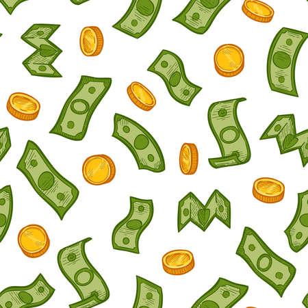 Money rain pattern. Green dollar banknotes and gold coins falling down. Financial crisis, recession business seamless vector texture. Money finance cash rain pattern, dollar and coins illustration Иллюстрация
