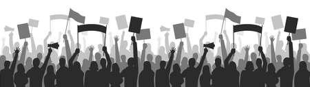 Activists protest seamless border. Strike group demonstration, demonstrator standing holding, equality manifestation. Vector illustration