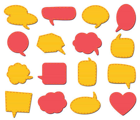 Fabric speech bubbles for talk and speech, textile decorative speak place, sewing fashion circle. Vector illustration
