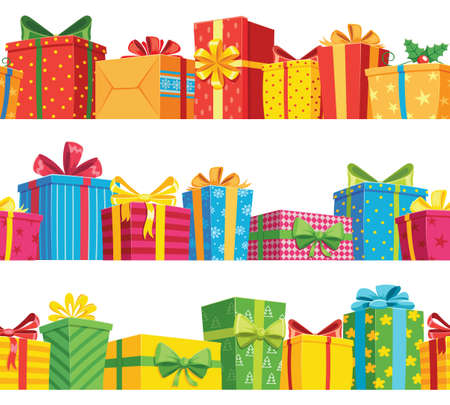 Gift seamless border. Stack giftbox package, present box to holiday birthday and christmas, color poster and banner vector illustration