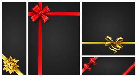 Gift voucher, banner template with golden and red bows. Vector banner and voucher with colored bow, invitation and present poster Иллюстрация