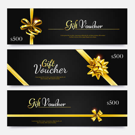 Gift voucher collection, surprise offer to holiday, gold certificate reward, flyer template special money coupon. Vector illustration