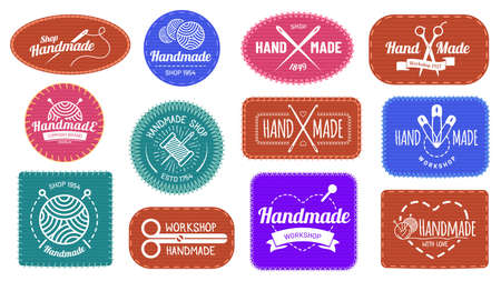 Handmade badges logo, graphic logotype tag label, quality handmade company, craft tailor and sewing, vector illustration