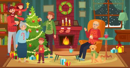 Happy family decorating christmas tree. Vector happy xmas with house fireplace, decoration to celebration holiday illustration
