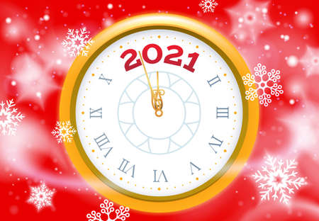 New 2021 Year snow poster. Vector clock face, happy 2021 holiday, design greeting card with snow and clock dial illustration