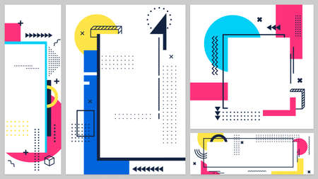 Memphis banners cover art line, 80s and 90s banner poster, modern design geometric shape, abstract graphic hipster trendy, vector illustration