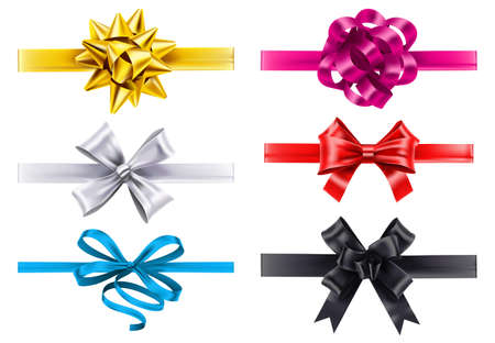 Realistic ribbons with bows. Vector bow decoration, birthday gift knot made form satin for christmas illustration