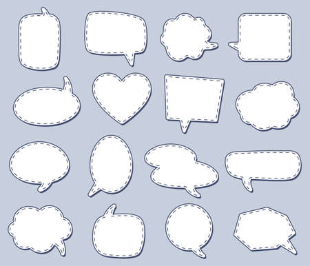 Steach speech bubbles for talk conversation, dialog different simplicity, creative gossiping drawing badge and label. Vector illustration