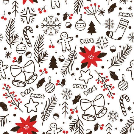 Hand drawn winter seamless pattern. Vector sketch wrapping for xmas greeting, backdrop and wallpaper with snowflake ball and tree illustration Иллюстрация