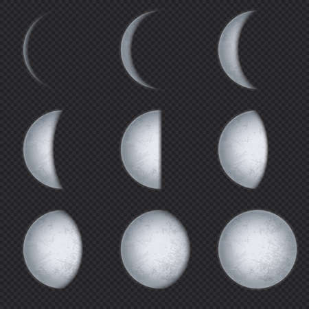 Realistic moon phases. Lunar phase, full luna and new crescent with night sky. Earth satellite surface with texture astronomical vector set. Astronomy lunar phase crescent and eclipse illustration