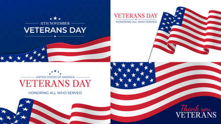 Veterans day. Happy veterans day celebration november 11 honoring heroes who served. Usa flag and lettering patriotic holiday vector posters. Usa veteran day, respect and pride illustration Иллюстрация