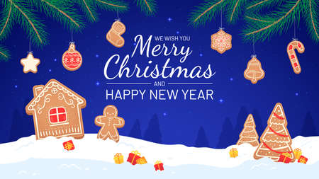 Gingerbread background. Merry christmas and new year 2021 greeting card fir-tree branches, gingerbread and gifts holiday vector poster. Christmas merry winter, gift festive decoration illustration Иллюстрация