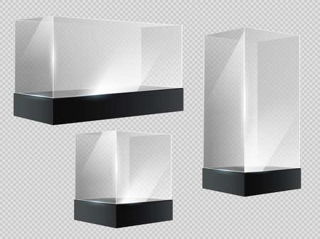 Glass cube. Transparent plastic showcase, empty retail or museum display in block shape in perspective. 3d prism stands, aquarium vector set. Illustration glass transparent and translucent empty box