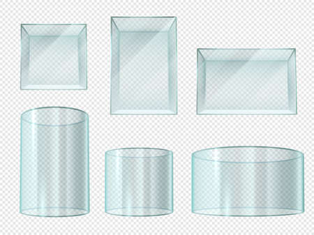 Glass box. Transparent crystal cube and cylinder empty showcases. Museum stand, expo prism pedestal isolated realistic 3d vector set. Illustration cube and cylinder glass, crystal box transparent