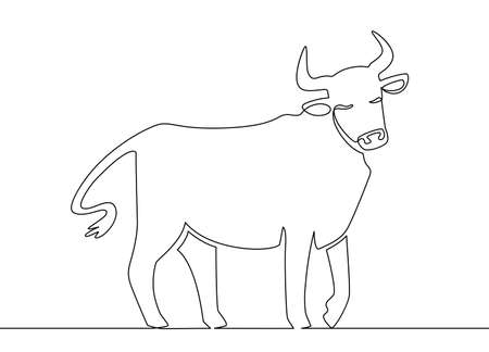 One line ox. Chinese new year 2021 bull continuous line art, zodiac asian astrology symbol, oriental style vector concept. Vector ox animal, bull linear drawing illustration
