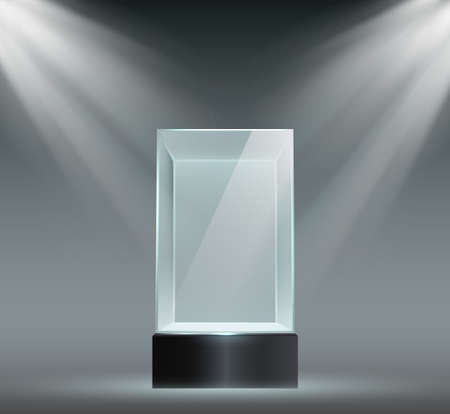 Glass showcase. Transparent plastic cube, empty product or museum display in block shape with spotlights. Prism stand for exhibit vector set. Illustration prism in spotlight, display showcase