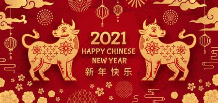 Ox year. Chinese new year 2021 year bull, gold and on asian holiday element. Hieroglyph and flowers oriental zodiac mascot vector background. Greeting poster 2021, ox zodiac astrological illustration