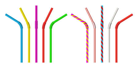 Drinking straw. Realistic classic plastic striped and colorful direct and bended drinking straws isolated objects 3d vector illustration set. Realistic pipe straw bend for cocktail or juice