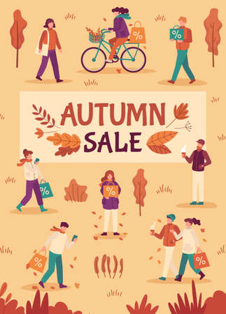 Autumn sale. People with umbrellas and shopping bags in city, fall season special offers, promotion price discount flyer, flat vector banner. Autumn shopping advertising, cheerful people illustration