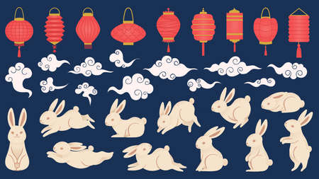 Mid autumn rabbits. Chinese and vietnamese traditional festival elements in oriental style with lanterns, clouds and funny bunny vector set. Illustration chinese rabbit and festival lantern Иллюстрация