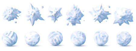Snowball 3d. Snow splats, splashes and round white snowballs collection for kids winter fights realistic vector set. Christmas, new year holiday for children game, isolated objects