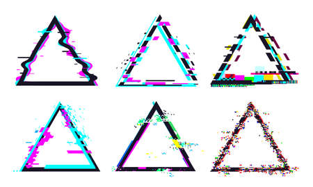 Glitch triangle frame. Destroyed geometric shape with distorted signal or noise. Light bug effects and colorful defected glitches set or collection for logo isolated vector illustration Stock fotó - 155570851