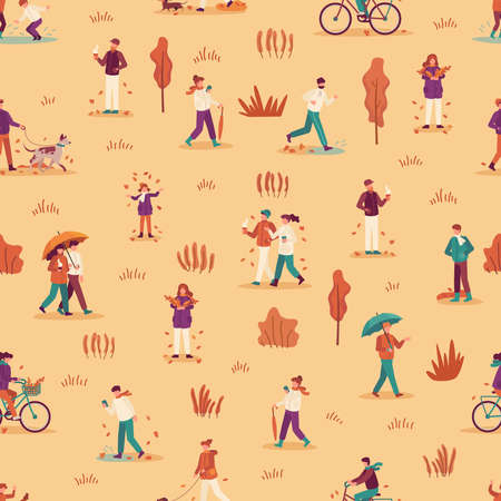 Autumn people seamless pattern. Men, women and child enjoying fall season, walk with umbrella and pets in park, ride bike vector background. Couple drinking coffee or tea, gathering leaves