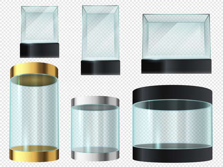 Glass showcase. Cylinder and cube empty transparent museum podiums, product 3d display, exhibit security capsule with platform vector set isolated on transparent. Display box for gallery