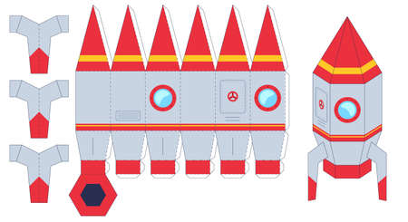 Rocket paper cut toy. Worksheet with missile. Cut and glue the paper spaceship, create toys yourself, kids handmade gaming puzzle vector set. Craft activity, DIY or educational riddle