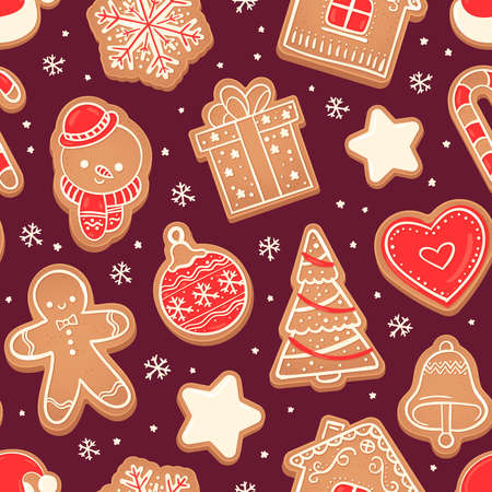 Gingerbread seamless pattern. Xmas cookies red heart, fir tree, snowman and bell, star and snowflake vector texture. Gift or present box and house biscuits fabric vector illustration