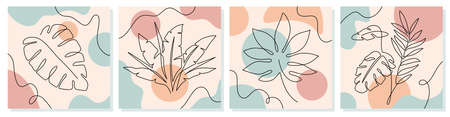 One line leaves. Tropical exotic plants with continuous line leaf and trendy organic shapes of pastel colors vector abstract doodle posters. Modern minimal botanical foliage drawing Stock fotó - 155570860