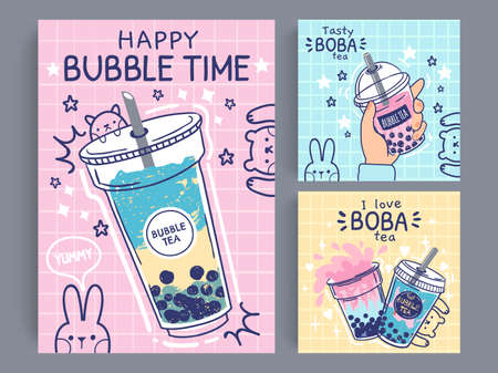 Bubble tea banner. Famous drink asian bubble tea, taiwanese green or fruit tea with balls in plastic cups, pearl milk tea flyer, promo vector poster. Tasty boba drink in take away mug