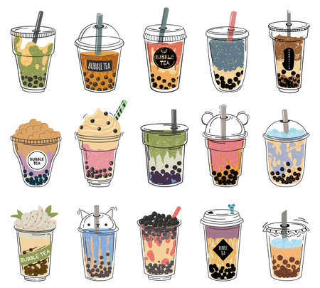 Bubble tea. Popular taiwanese pearl milk tea with balls, bubble asian tea, soft drinks in plastic cups trendy dessert colorful vector collection. Different taste cocktail with cream set