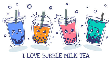 Bubble tea. Plastic cup with cute emotions smile characters and pearl milk tea, green, coffee and fruit tea with balls, asian drink cartoon vector set. Colorful beverage with adorable faces