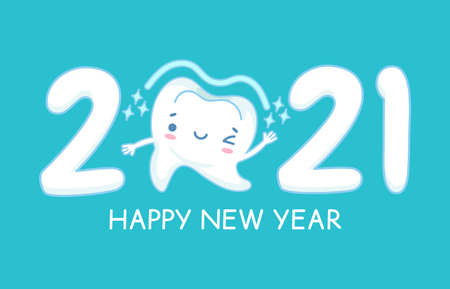 New year teeth. Happy holiday 2021 year banner with funny healthy white tooth, childrens dentistry, oral hygiene care dental vector concept. Single tooth with winking, smiling face Stock fotó - 155570868