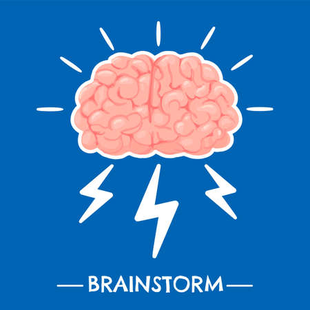 Brainstorming. New idea brain innovation and solutions, power creative mind, learning and invention, science knowledge flat vector concept. Human imagination and thinking, mental concentration Stock fotó - 155570869